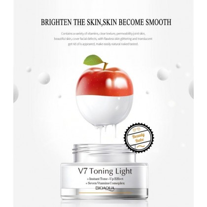 BioAqua V7 Toning Light Instant Tone Up Effect Lazy Cream 50g for Fairer Flawless Skin Foundation BB CC Crystal Clear Nude Whitening Makeup
